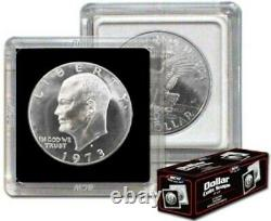 100 BCW 2x2 Hard Plastic Coin Snaps Ike /Morgan SILVER DOLLAR square holders