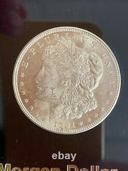 100 YEAR SILVER DOLLAR SET 1921 Morgan & 2021 Silver Eagle in Capital Display
