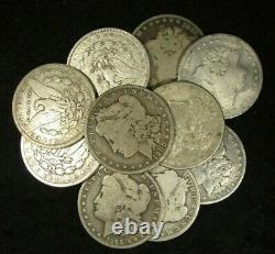 10 PRE 1921 Morgan Silver Dollars CULL SILVER DOLLARS HALF ROLL