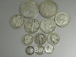 13 COIN COMPLETE 20TH CENTURY US 90% SILVER TYPE SET+MORGAN+PEACE DOLLARS++More