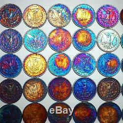 1878-1904 RAINBOW TONED Morgan Silver Dollar FINE Pre-1921 Lot of 50 Coins Color