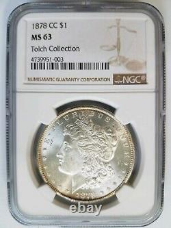 1878 CC Morgan Silver Dollar NGC MS 63 Tolch Collection Hoard Pedigree
