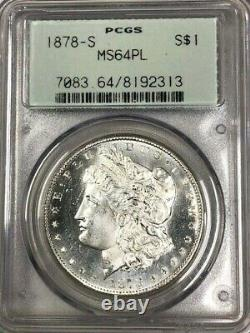 1878 S PCGS MS64 PL Morgan Silver Dollar $1 Frosty Details & Prooflike Gem