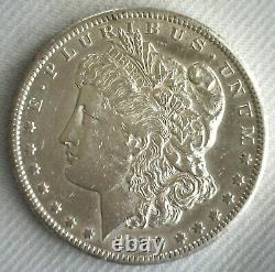 1879 CC Morgan Silver Dollar $1 US Dollar Coin AU Almost Uncirculated Cleaned