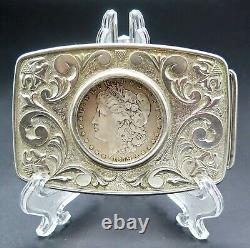 1879 Morgan Silver Dollar Coin Western Ornate Scroll Vintage Belt Buckle