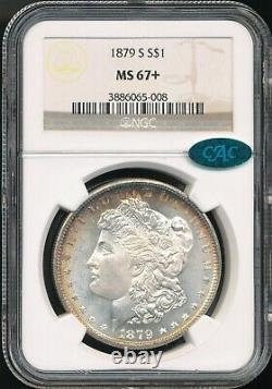 1879-S Morgan Dollar NGC MS 67+ / CAC Spectacular Coin, Rainbow Toning At Rim
