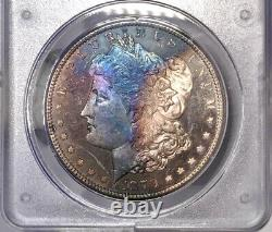 1879-S Morgan Dollar PCGS MS63 DMPL CAC Rainbow Toned DMPL Rattler Holder