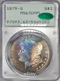 1879-S Morgan Dollar PCGS MS63 DMPL CAC Rainbow Toned Rattler Deep Mirror PL