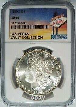 1880 S Morgan Silver Dollar NGC MS 67 Las Vegas Vault Collection Nevada Pedigree