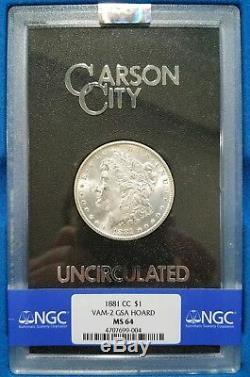 1881 CC Morgan Silver Dollar NGC MS 64 VAM 2 Doubled 88 Carson City GSA Hoard