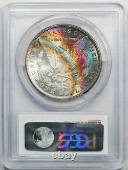 1881 S $1 Morgan Dollar PCGS MS 62 CAC Rainbow Toned Moon Shaped Reverse #68099