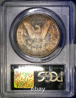 1881-S Morgan Dollar PCGS MS63 CAC Emerald Green Peach Red Color Rainbow Toned