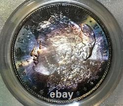1881-S Morgan Dollar PCGS MS63 Midnight Blue Bullseye Target Rainbow Toned
