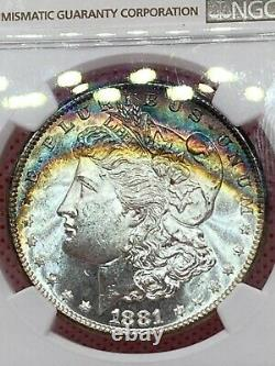1881 S NGC CAC MS 64+ Star Morgan Silver Dollar, Rainbow Toning, + Star & CAC