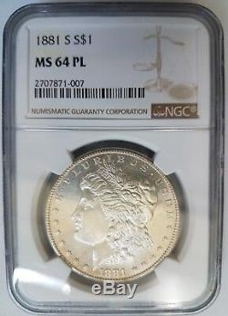 1881 S Silver Morgan Dollar NGC MS 64 PL Mirrors Looks Gem Graded Coin
