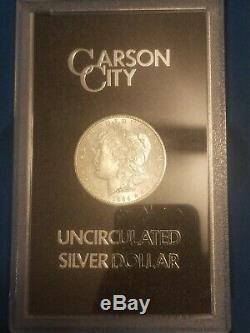 1882 1883 1884 CC CARSON CITY GSA Uncirculated Morgan Silver Dollars withBox & COA