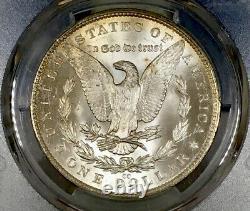 1882-CC Morgan Dollar PCGS MS65 Original Bank Bag Textile Dots Rainbow Toned
