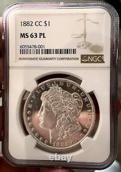 1882 CC Morgan Silver Dollar PROOFLIKE NGC MS63PL NEAR DMPL KEY DATE