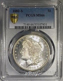1882-S Morgan Dollar PCGS MS66 Vibrant Periwinkle Blue Rainbow Toned