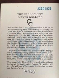 1883-CC $1 Morgan GSA Hoard Carson City Uncirculated Silver Dollar withbox and COA