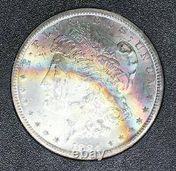 1884-CC NGC Silver Morgan Dollar GSA MS63 STAR Monster Crescent Rainbow Toned