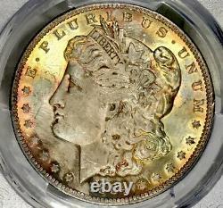 1884-O Morgan Dollar PCGS MS64 Golden Electric Blue Rainbow Toned