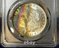 1884-O Morgan Dollar PCGS MS64+ Vibrant Color Rainbow Toned