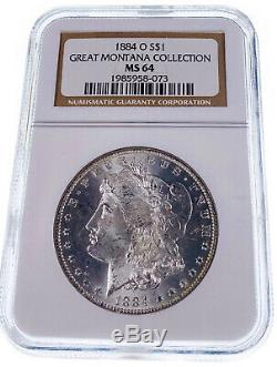 1884-O NGC MS64 Great Montana Collection Pedigree Silver Morgan Dollar Coin