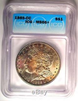 1885-CC Morgan Silver Dollar $1 Coin ICG MS66+ PQ Plus Grade $2,500 Value