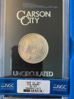 1885 CC Morgan Silver Dollar MS 63 NGC GSA Hoard, Box & Certificate, Toning