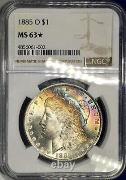 1885- O Morgan Dollar NGC MS63Star Vivid Rainbow Toned Best Looking MS63