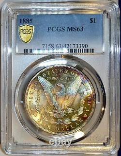 1885-P Morgan Dollar PCGS MS63 Lustrous Glass Like End Of Roll Rainbow Toned