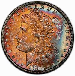 1885-P Morgan Dollar PCGS MS64 Vibrant Fireball Rainbow Toned End Of Roll Toner