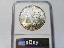1885 Silver Morgan Dollar NGC MS 65 Star Monster Rainbow Crescent Toned Toning