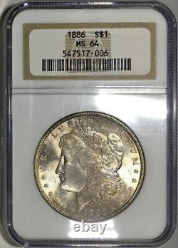 1886-P Morgan Dollar NGC MS64 Colorful Electric Blue Rainbow Toned