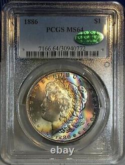 1886-P Morgan Dollar PCGS MS64 CAC Luminous Colorful Rainbow Toned
