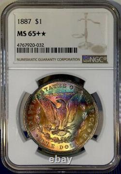 1887-P Morgan Dollar NGC MS65+STAR Stunning Ultra Colorful Rainbow Toned