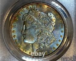 1887-P Morgan Dollar PCGS MS64 CAC Dual Side Rainbow Toned OGH withVIDEO