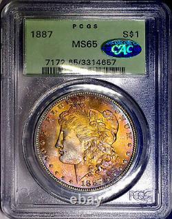 1887-P Morgan Dollar PCGS MS65 CAC Rainbow Toned OGH