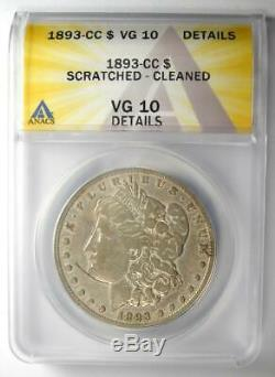 1893-CC Morgan Silver Dollar $1 ANACS VG10 Details Rare Carson City Coin