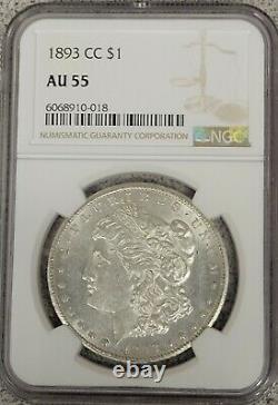 1893 CC Morgan Silver Dollar $1 Coin Carson City NGC AU55