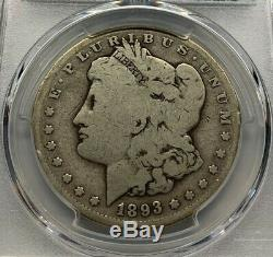 1893 S Morgan Silver Dollar, Old Silver, Miss Liberty Head Dollar, $1 PCGS G 06