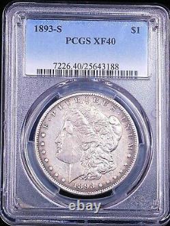 1893-S Morgan Silver Dollar PCGS XF40 Bright Nice Luster Premium Quality #GE114