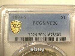 1893-S PCGS VF20 GOLD Shield Silver MORGAN Dollar $1 The KING Nice & Light