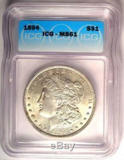 1894 Morgan Silver Dollar $1 1894-P Certified ICG MS61 (BU UNC) $3750 Value