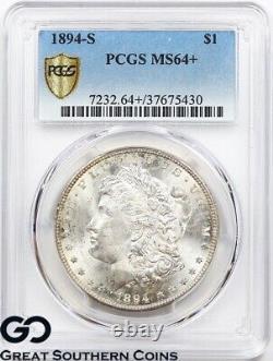 1894-S PCGS Morgan Silver Dollar Silver Coin MS 64+ Tough This Nice