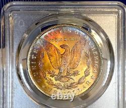 1896-P Morgan Dollar PCGS MS63 Ultra Sunset Rainbow Toned