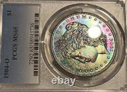 1904-O Morgan Dollar PCGS MS65 Burlap Bank Bag Vibrant Rainbow Toned VAM 4B