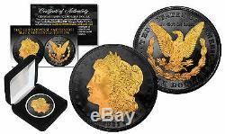 1921 Genuine AU MORGAN SILVER DOLLAR Coin with 24K Gold & BLACK RUTHENIUM 2-Sided