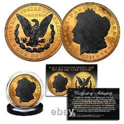 1921 Original AU MORGAN SILVER Dollar 24KT GOLD Clad with 2-Sided BLACK RUTHENIUM